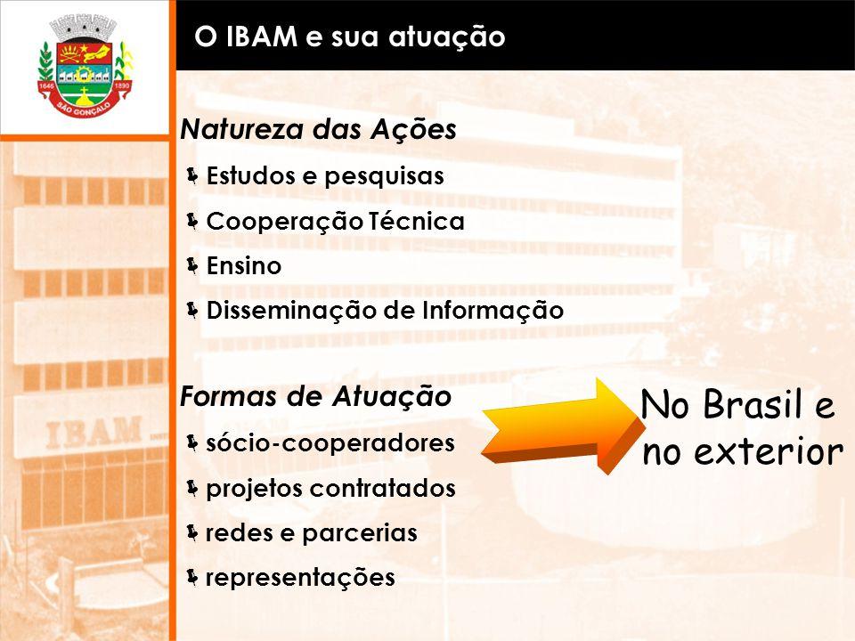 No Brasil e no exterior O IBAM e sua atuação Natureza das Ações
