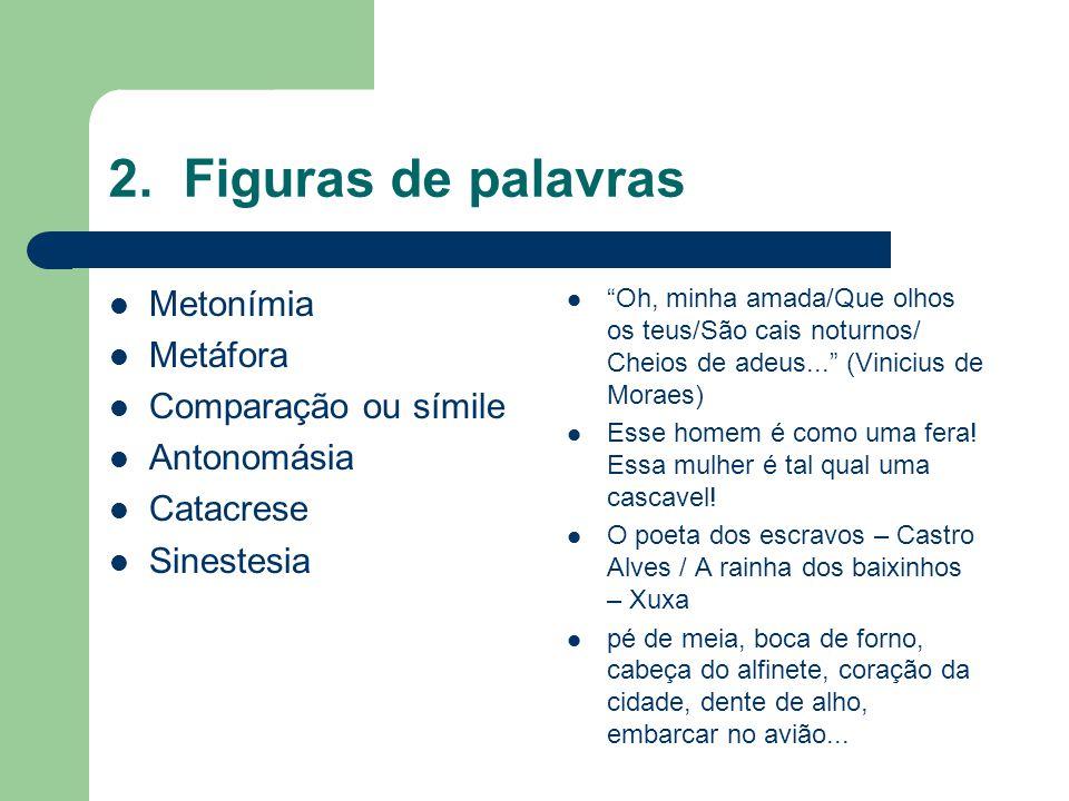 2. Figuras de palavras Metonímia Metáfora Comparação ou símile