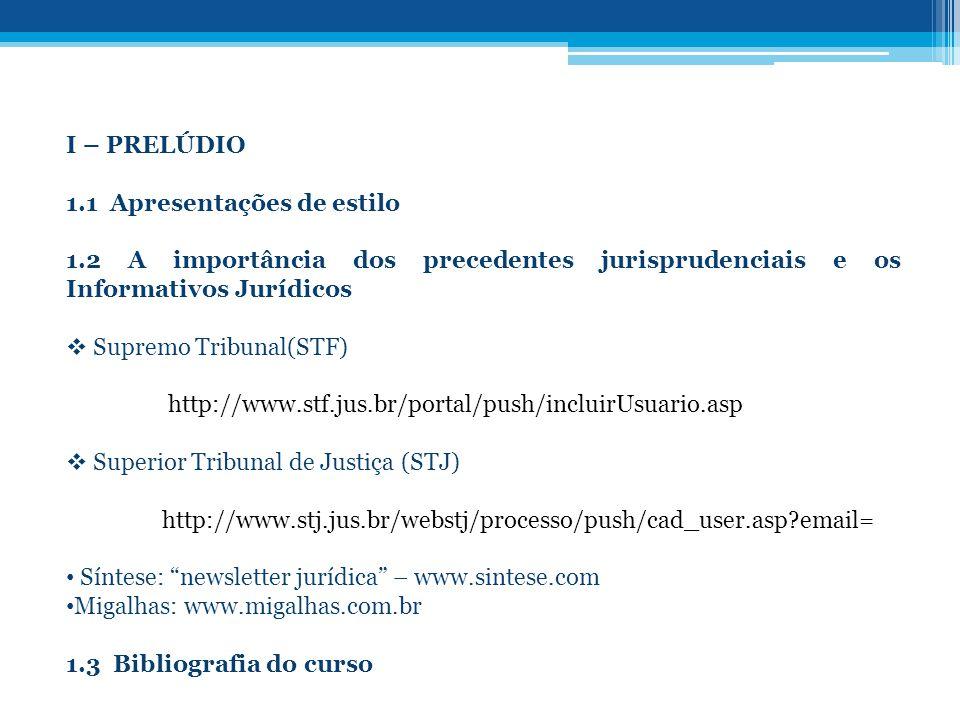 I – PRELÚDIO 1.1 Apresentações de estilo. 1.2 A importância dos precedentes jurisprudenciais e os Informativos Jurídicos.