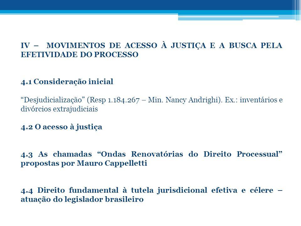 IV – MOVIMENTOS DE ACESSO À JUSTIÇA E A BUSCA PELA EFETIVIDADE DO PROCESSO