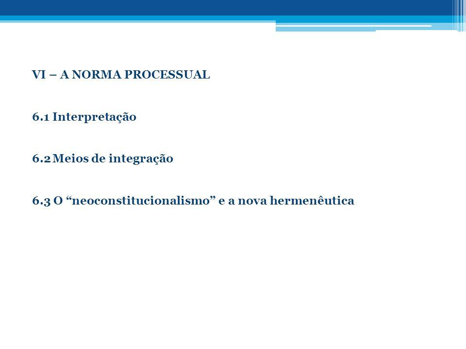 VI – A NORMA PROCESSUAL 6.1 Interpretação. 6.2 Meios de integração.
