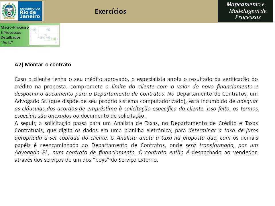 Exercícios A2) Montar o contrato