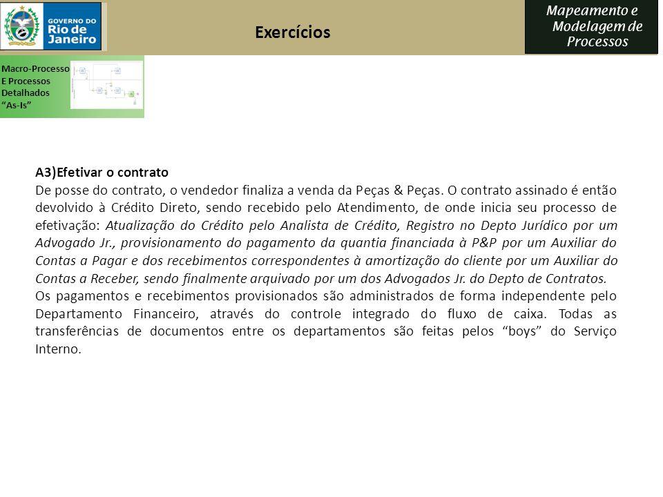 Exercícios A3)Efetivar o contrato