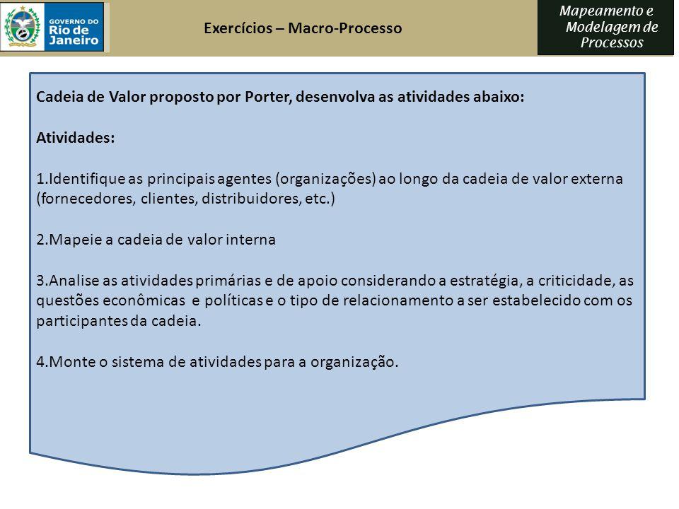 Exercícios – Macro-Processo