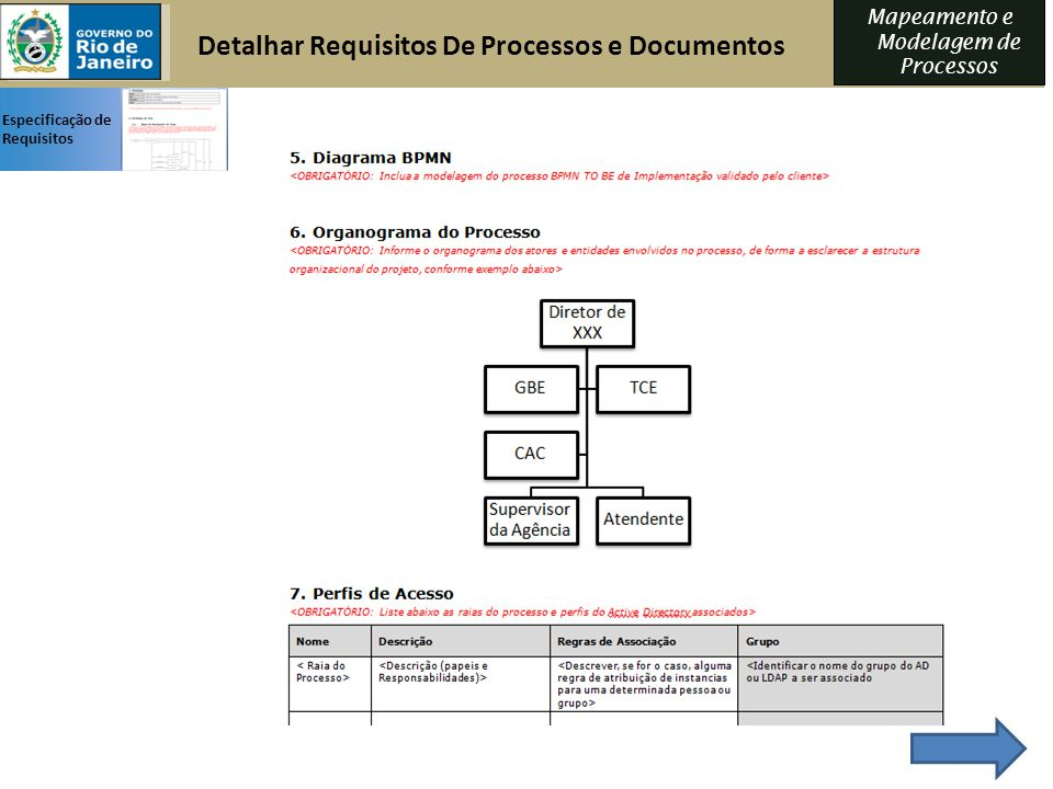 Detalhar Requisitos De Processos e Documentos