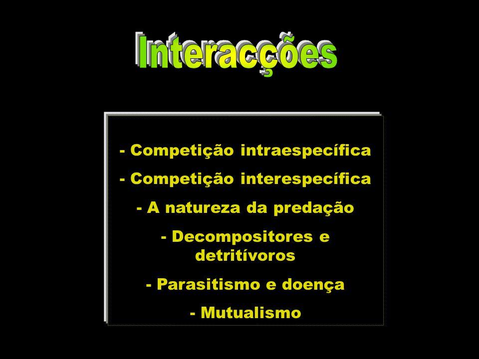 Interacções - Competição intraespecífica - Competição interespecífica