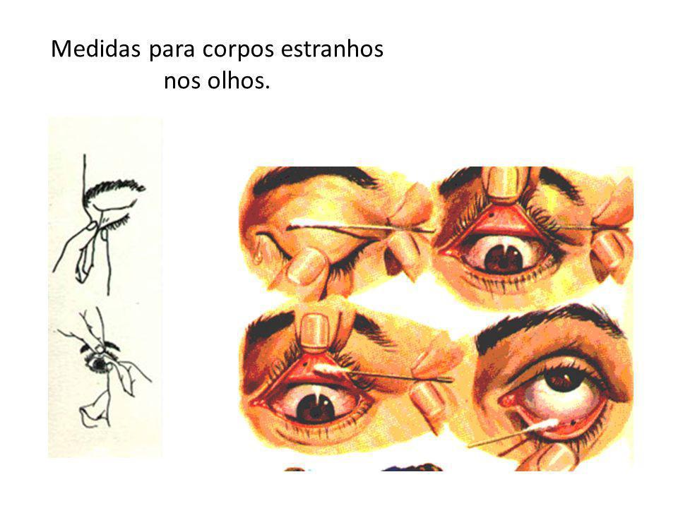Medidas para corpos estranhos nos olhos.