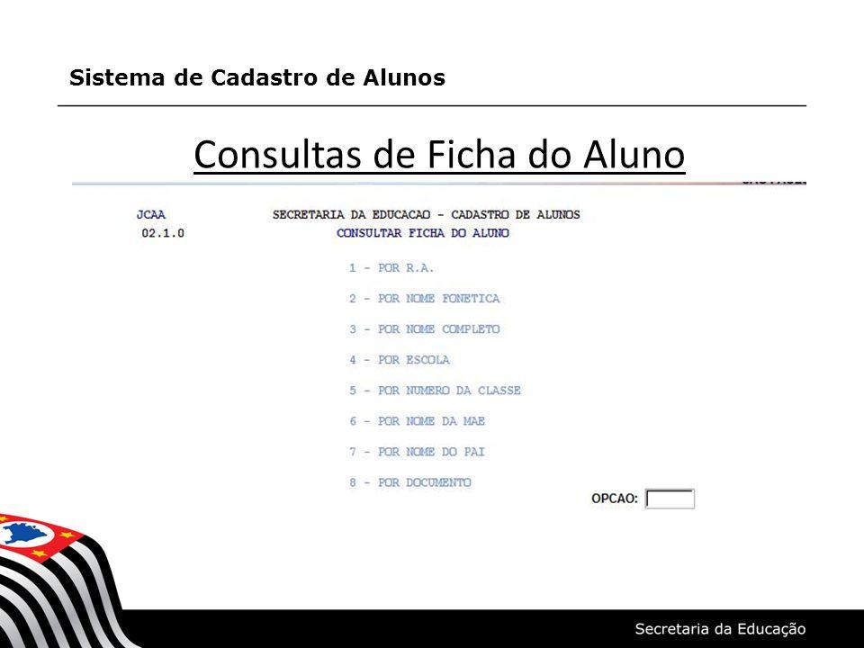 Consultas de Ficha do Aluno