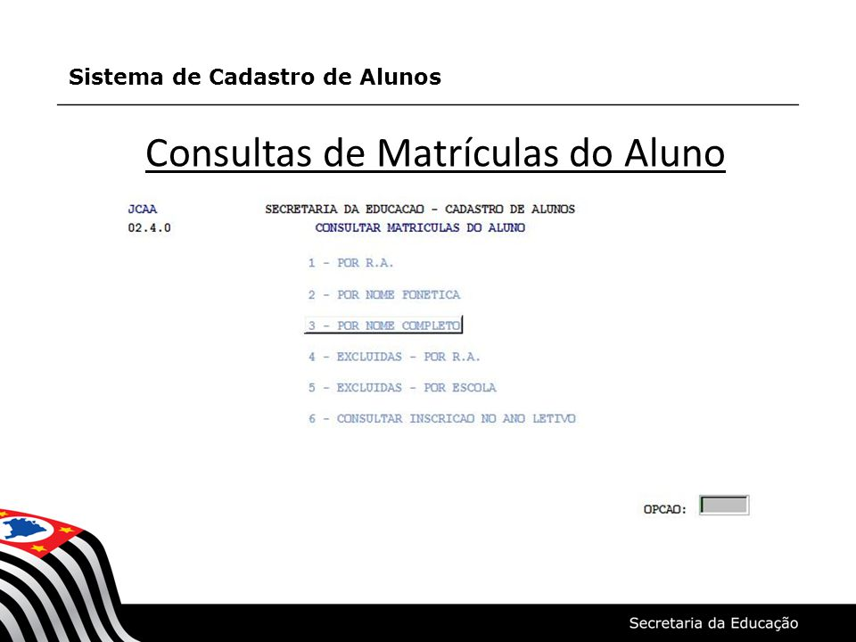 Consultas de Matrículas do Aluno