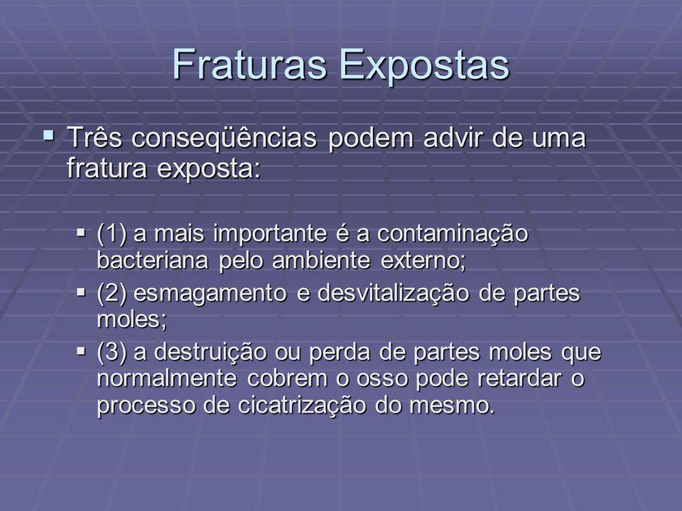 Fraturas Expostas Três conseqüências podem advir de uma fratura exposta: (1) a mais importante é a contaminação bacteriana pelo ambiente externo;