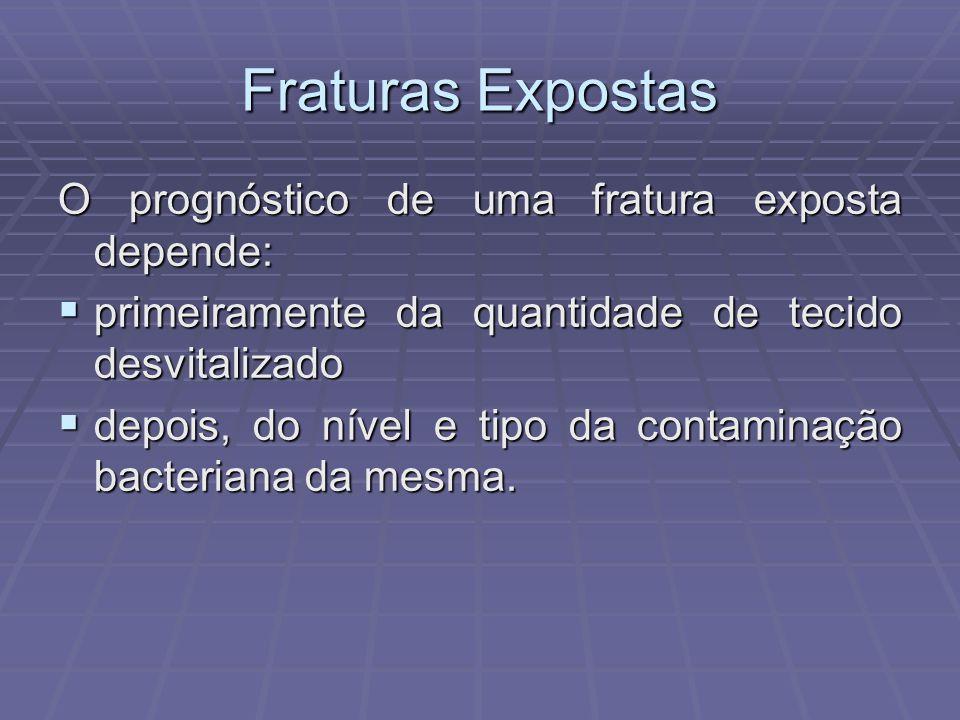 Fraturas Expostas O prognóstico de uma fratura exposta depende: