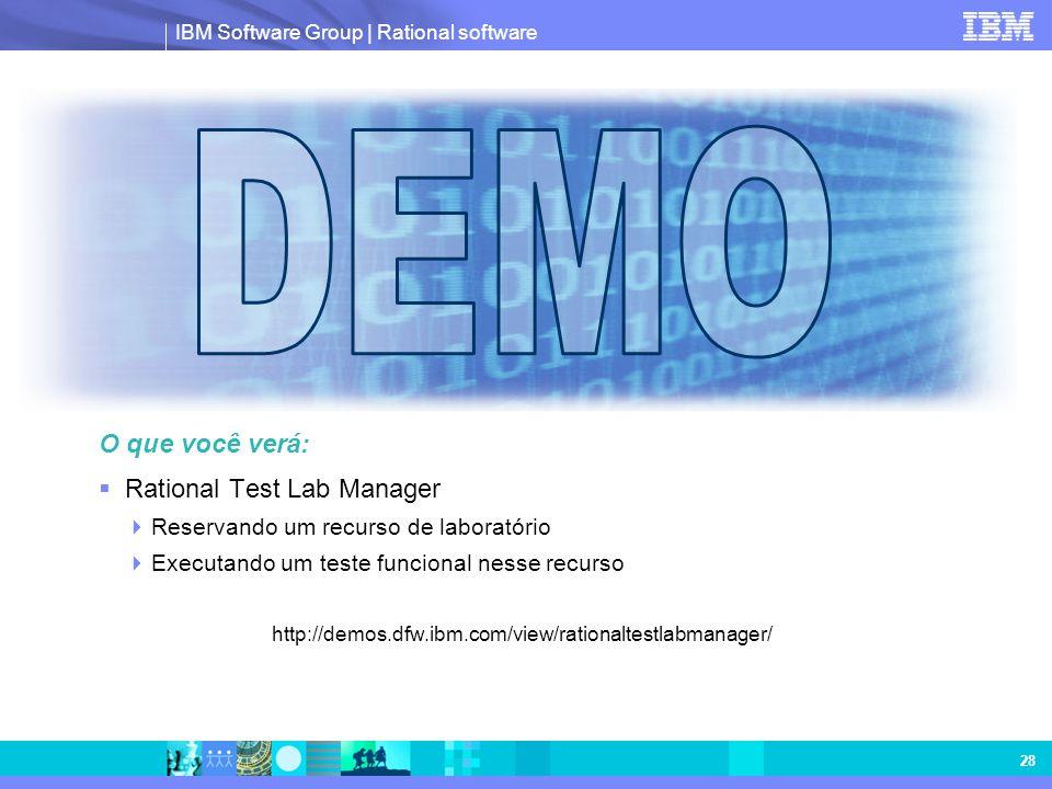 DEMO O que você verá: Rational Test Lab Manager