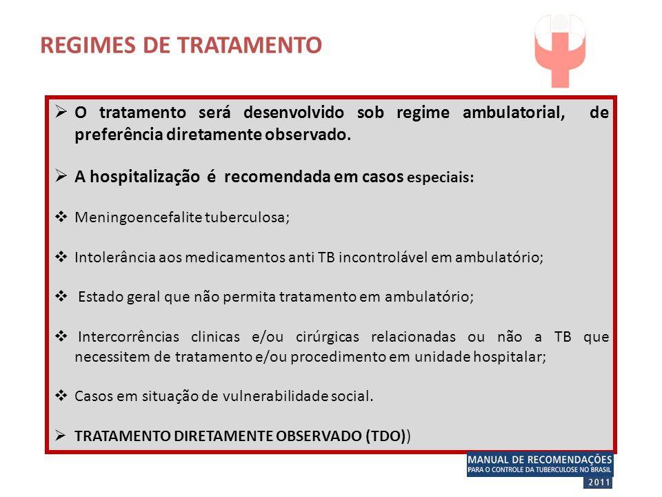 REGIMES DE TRATAMENTO O tratamento será desenvolvido sob regime ambulatorial, de preferência diretamente observado.