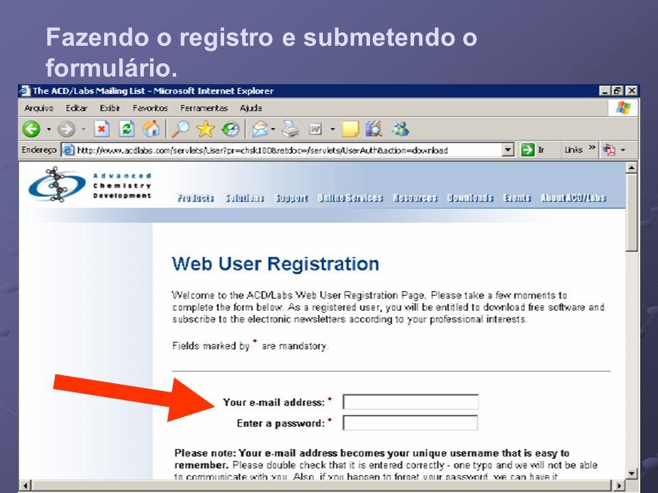 Fazendo o registro e submetendo o formulário.