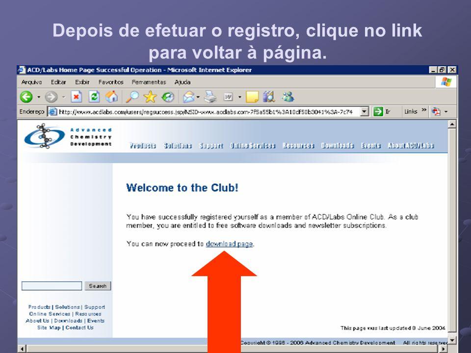 Depois de efetuar o registro, clique no link para voltar à página.