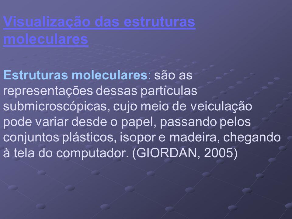 Visualização das estruturas moleculares Estruturas moleculares: são as representações dessas partículas submicroscópicas, cujo meio de veiculação pode variar desde o papel, passando pelos conjuntos plásticos, isopor e madeira, chegando à tela do computador.