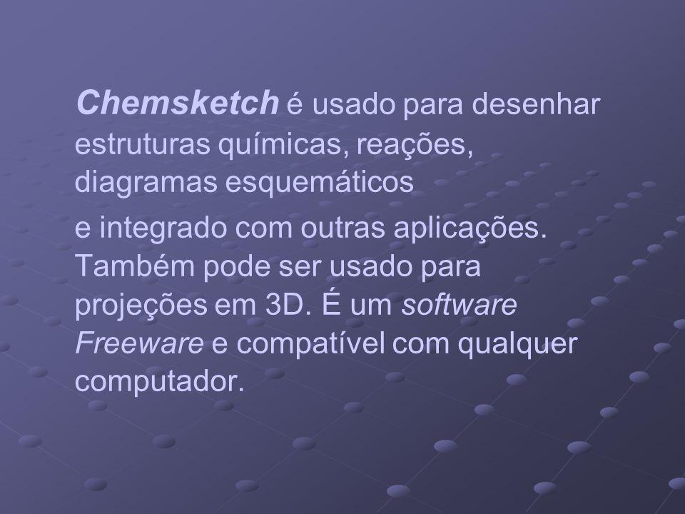 Chemsketch é usado para desenhar estruturas químicas, reações, diagramas esquemáticos