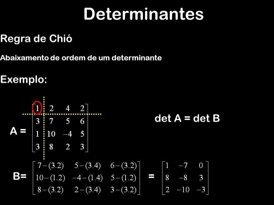 Determinantes Regra de Chió Exemplo: det A = det B A = B= =