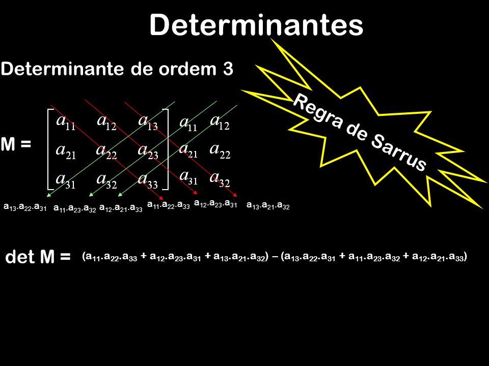 Determinantes Determinante de ordem 3 Regra de Sarrus M = det M =