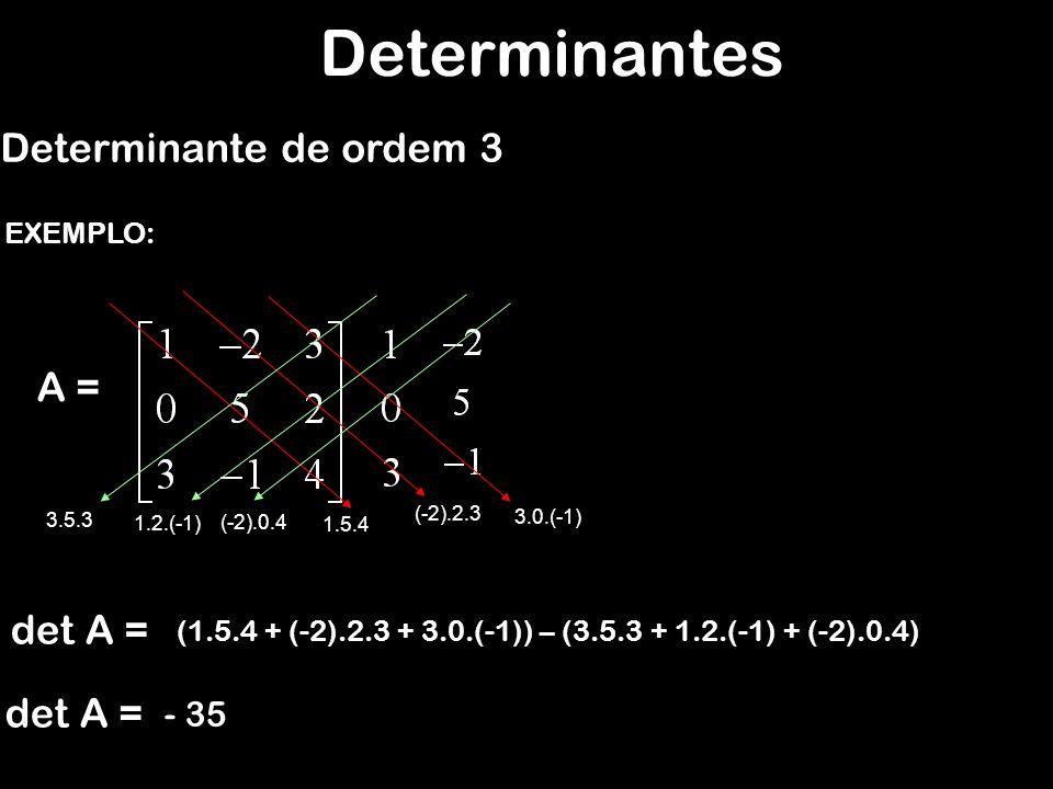 Determinantes Determinante de ordem 3 A = det A = det A = - 35