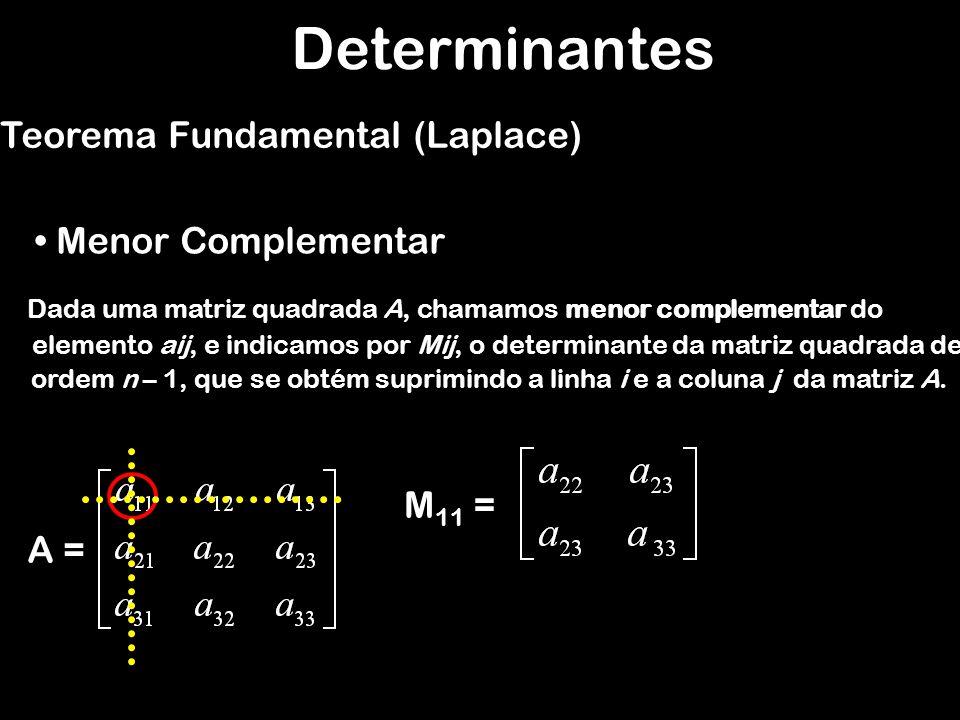 Determinantes Teorema Fundamental (Laplace) Menor Complementar M11 =