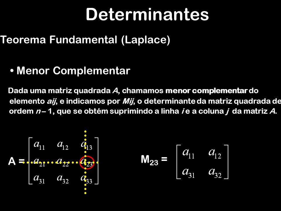 Determinantes Teorema Fundamental (Laplace) Menor Complementar M23 =