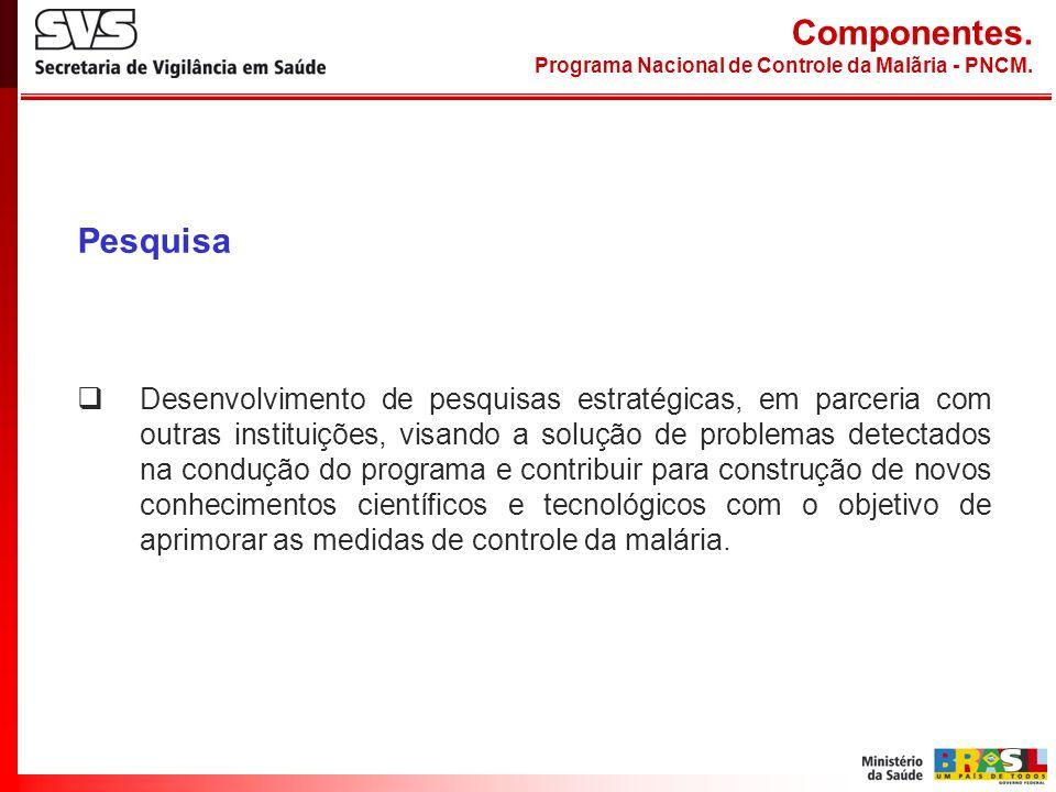 Componentes. Programa Nacional de Controle da Malãria - PNCM. Pesquisa.