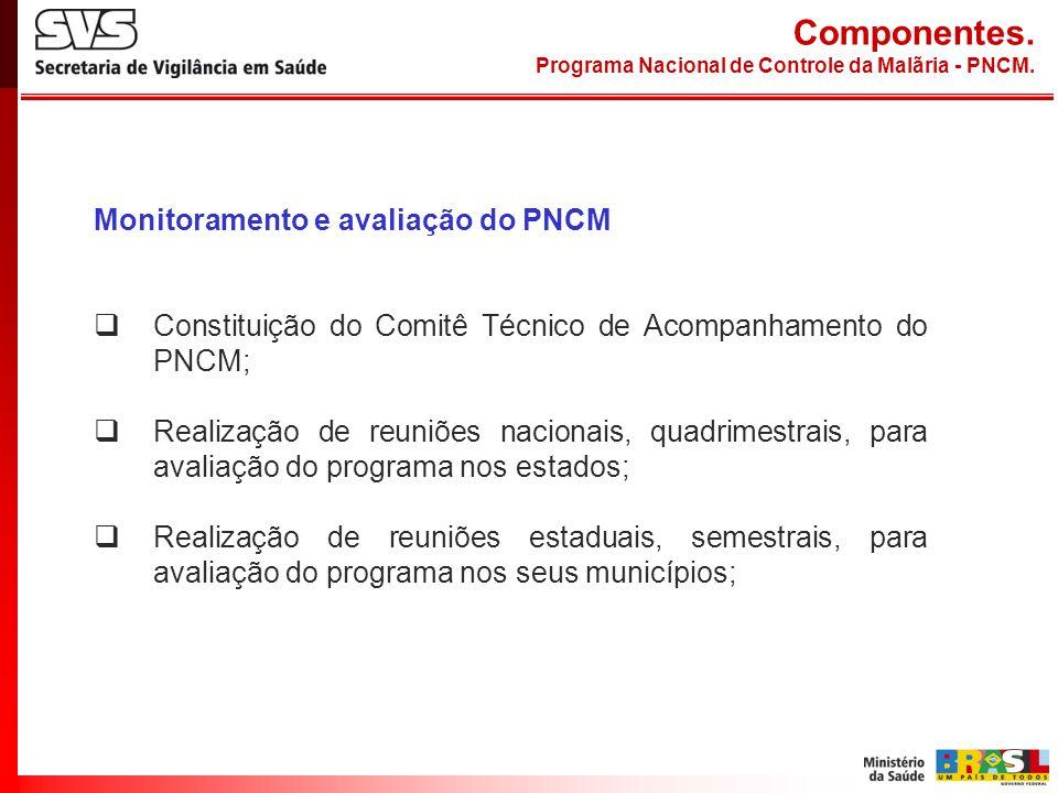 Componentes. Monitoramento e avaliação do PNCM