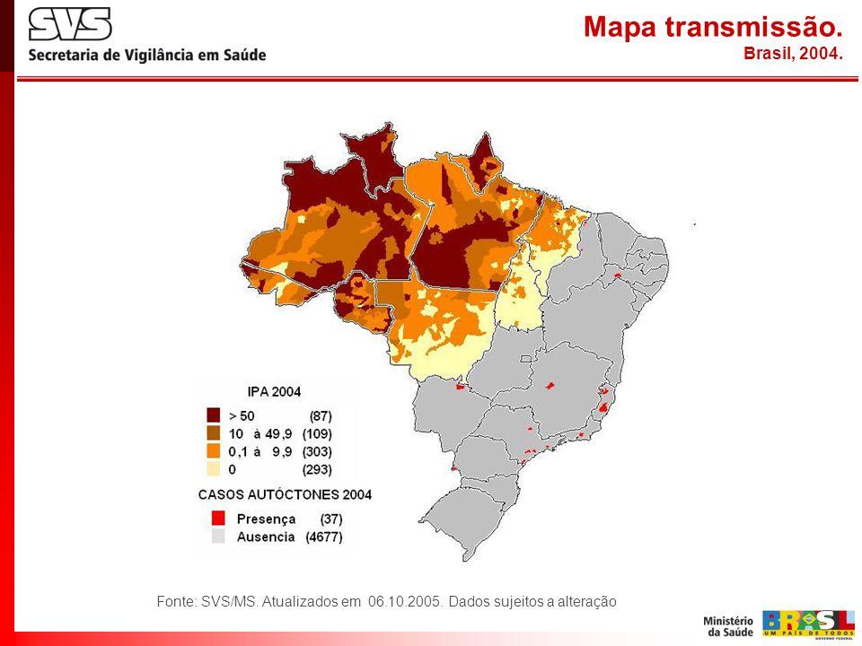 Mapa transmissão. Brasil, 2004.