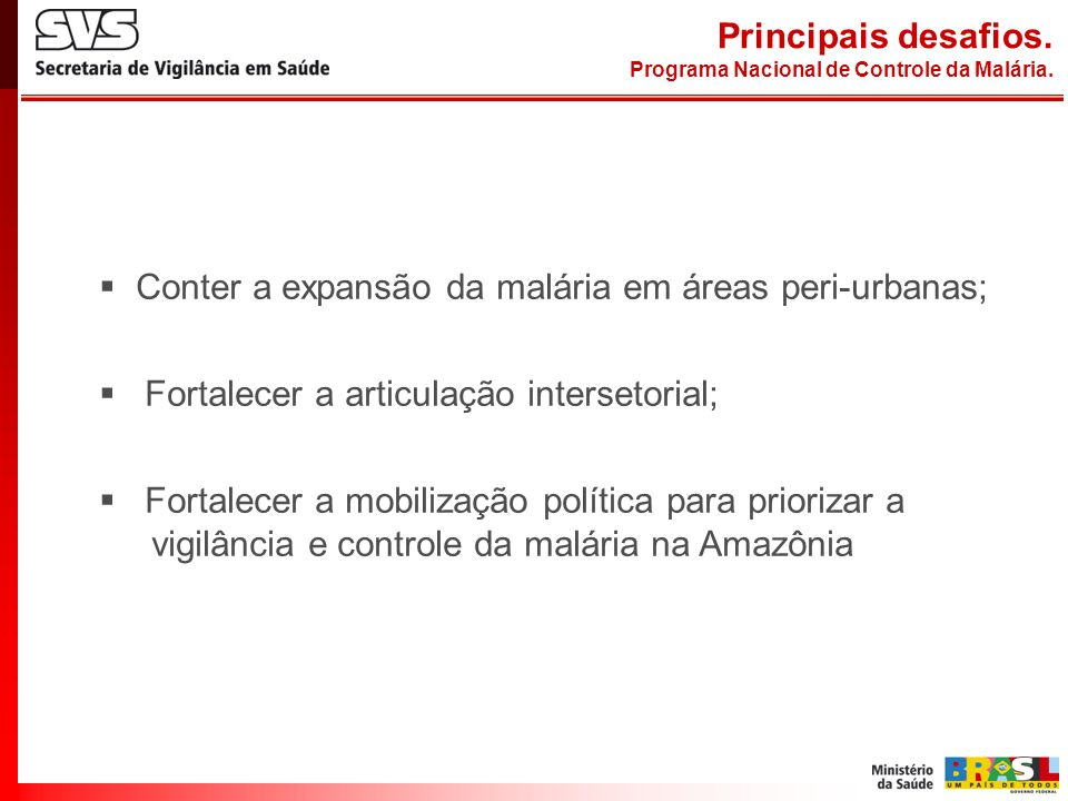 Principais desafios. Programa Nacional de Controle da Malária.