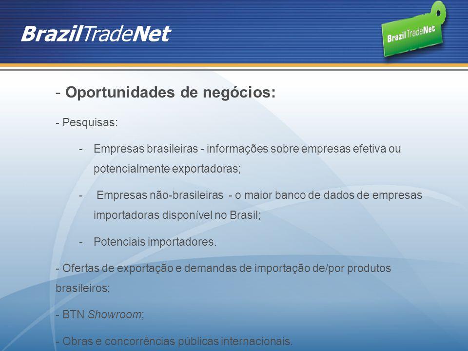 BrazilTradeNet Oportunidades de negócios: Pesquisas: