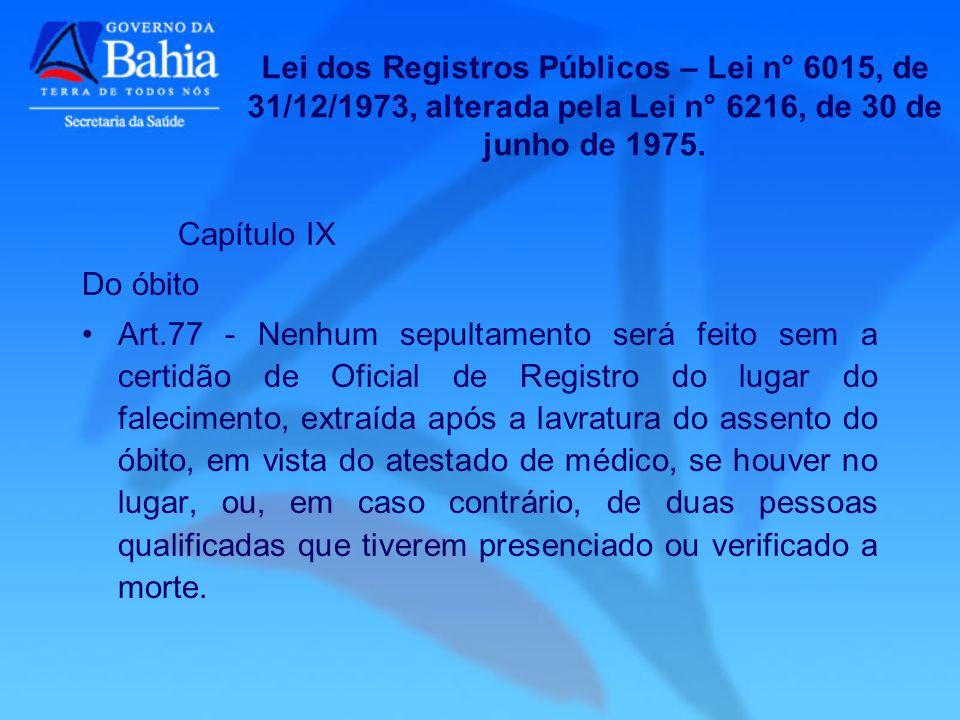 Lei dos Registros Públicos – Lei n° 6015, de 31/12/1973, alterada pela Lei n° 6216, de 30 de junho de 1975.