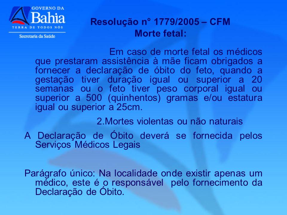 Resolução n° 1779/2005 – CFM Morte fetal: