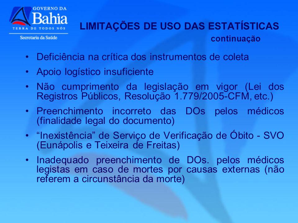 LIMITAÇÕES DE USO DAS ESTATÍSTICAS continuação