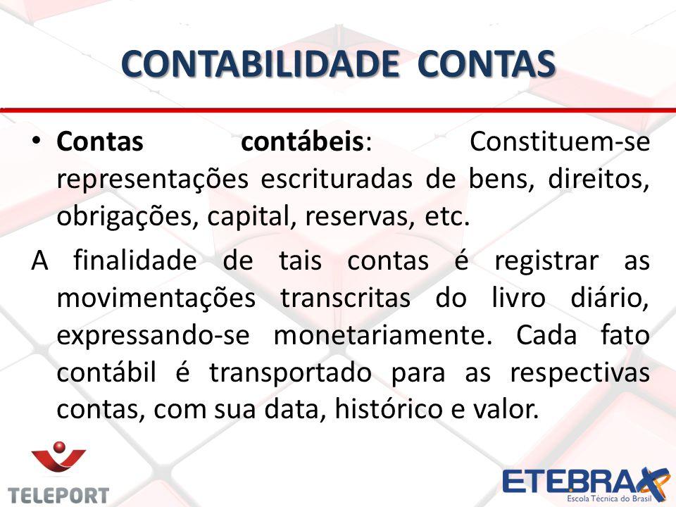 CONTABILIDADE CONTAS Contas contábeis: Constituem-se representações escrituradas de bens, direitos, obrigações, capital, reservas, etc.