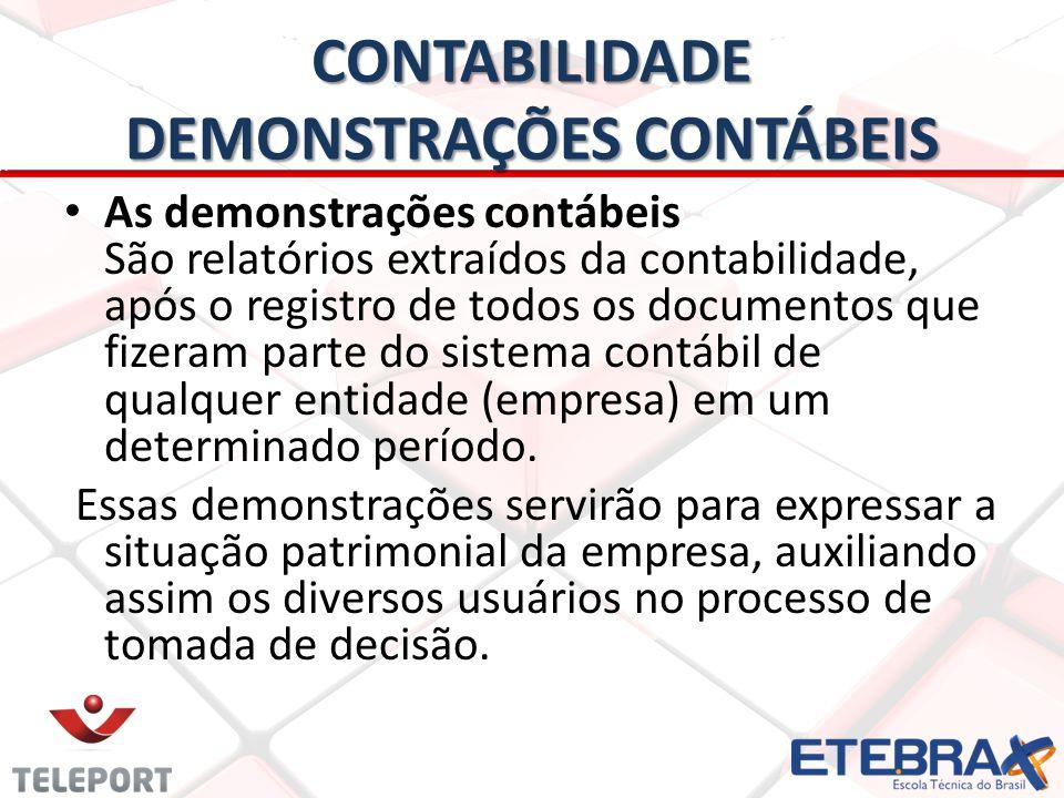 CONTABILIDADE DEMONSTRAÇÕES CONTÁBEIS