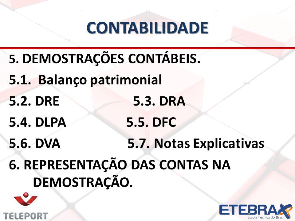 CONTABILIDADE 5.1. Balanço patrimonial 5.2. DRE 5.3. DRA