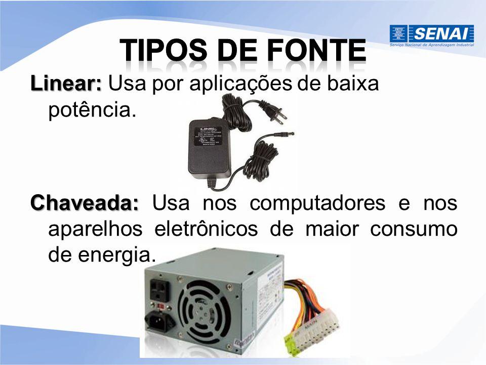 Tipos de Fonte Linear: Usa por aplicações de baixa potência.