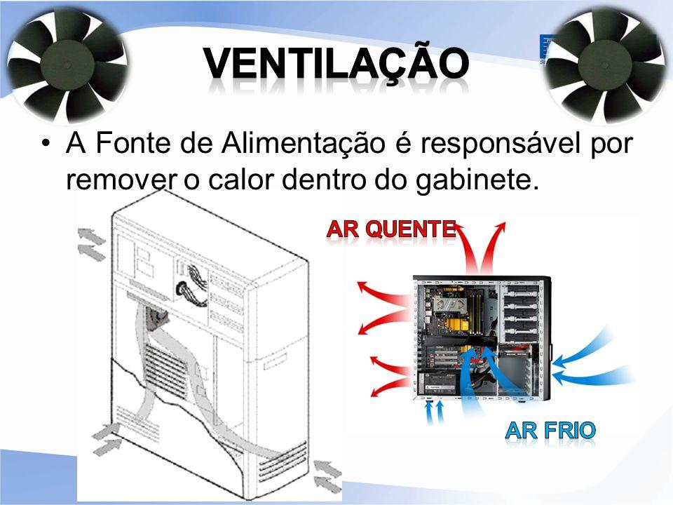 VENTILAÇÃO A Fonte de Alimentação é responsável por remover o calor dentro do gabinete. Ar quente.