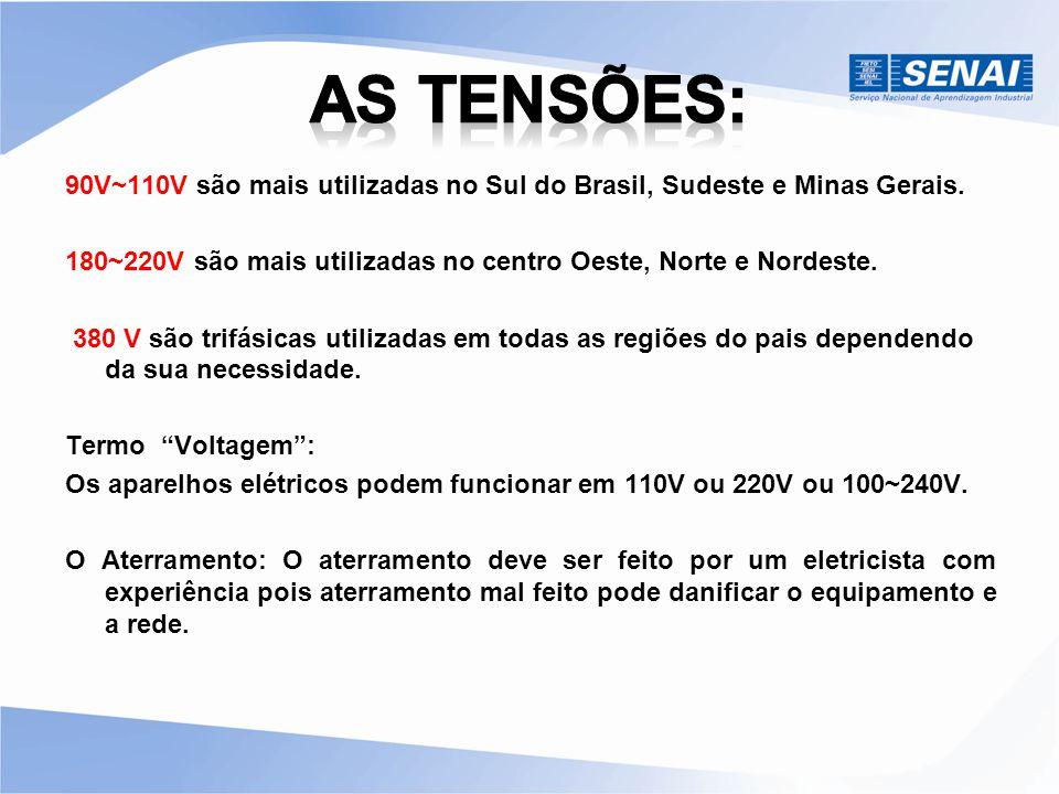 As tensões: 90V~110V são mais utilizadas no Sul do Brasil, Sudeste e Minas Gerais. 180~220V são mais utilizadas no centro Oeste, Norte e Nordeste.