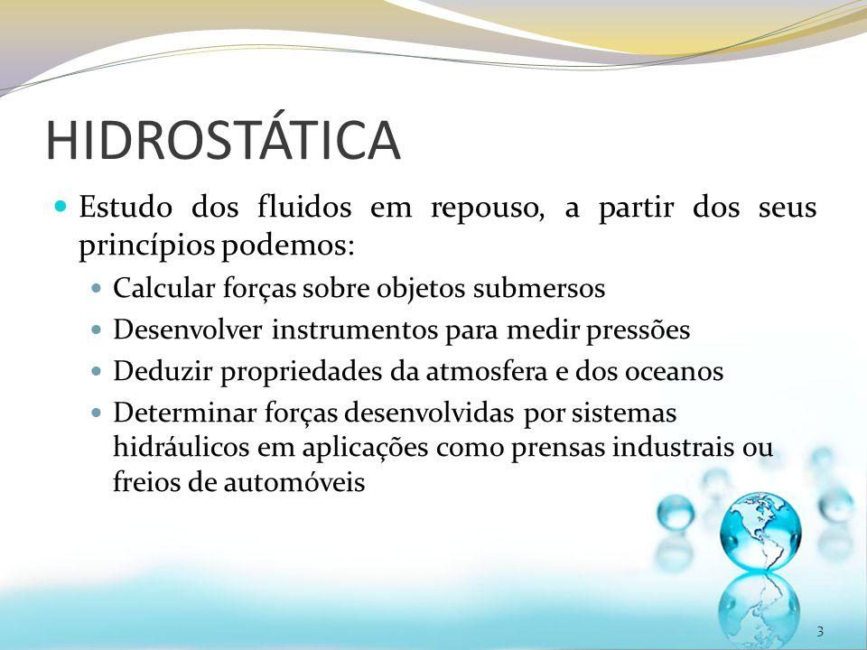 HIDROSTÁTICA Estudo dos fluidos em repouso, a partir dos seus princípios podemos: Calcular forças sobre objetos submersos.
