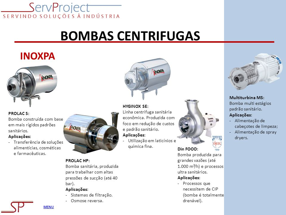 BOMBAS CENTRIFUGAS INOXPA Multiturbina MS: