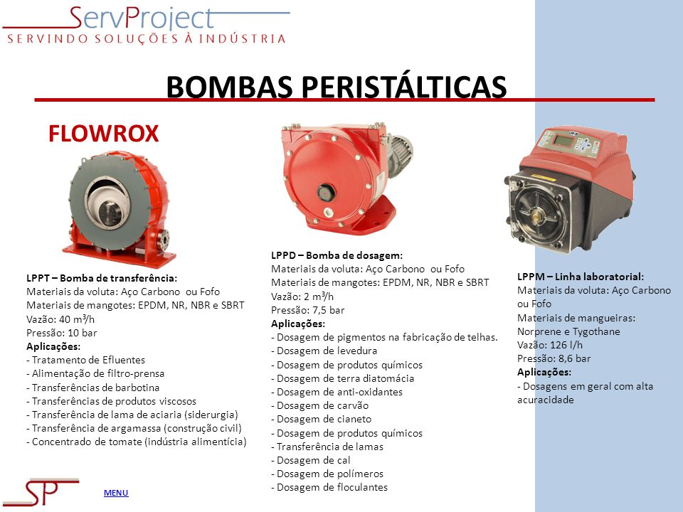 BOMBAS PERISTÁLTICAS FLOWROX LPPD – Bomba de dosagem: