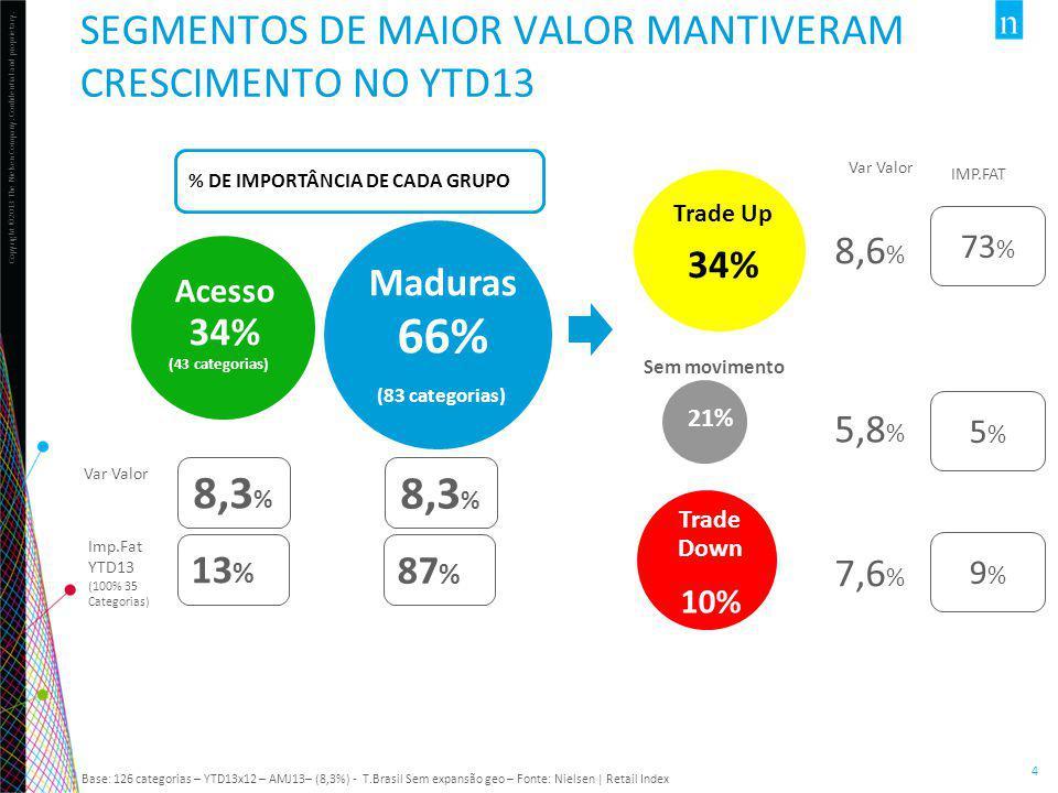 66% 8,3% 8,3% SEGMENTOS DE MAIOR VALOR MANTIVERAM CRESCIMENTO NO YTD13