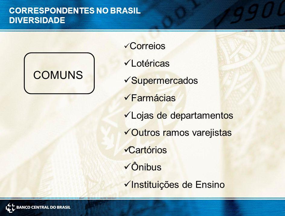 COMUNS Lotéricas Supermercados Farmácias Lojas de departamentos