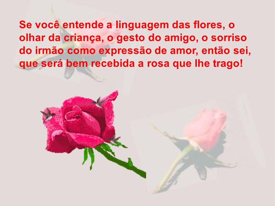 Se você entende a linguagem das flores, o olhar da criança, o gesto do amigo, o sorriso do irmão como expressão de amor, então sei, que será bem recebida a rosa que lhe trago!
