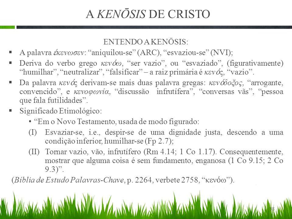 A KENŌSIS DE CRISTO ENTENDO A KENŌSIS: