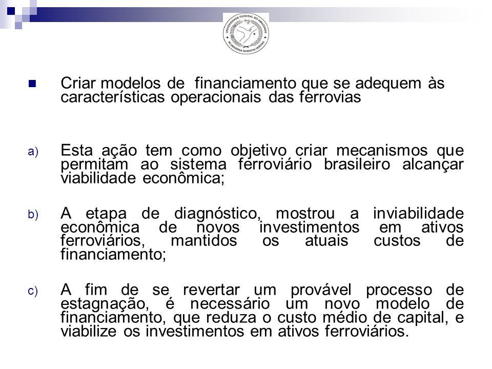 Criar modelos de financiamento que se adequem às características operacionais das ferrovias