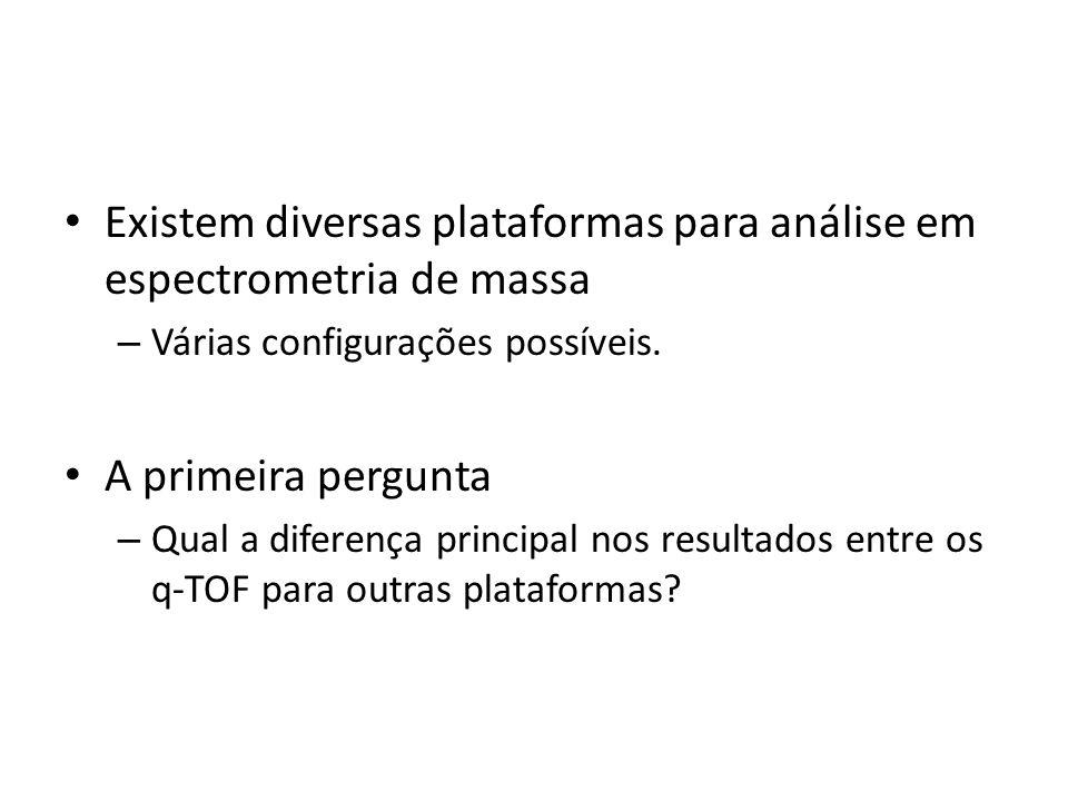 Existem diversas plataformas para análise em espectrometria de massa