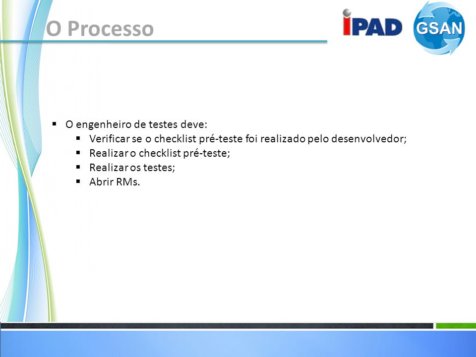 O Processo O engenheiro de testes deve: